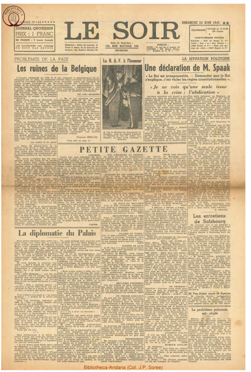 1945-06-24 Le Soir