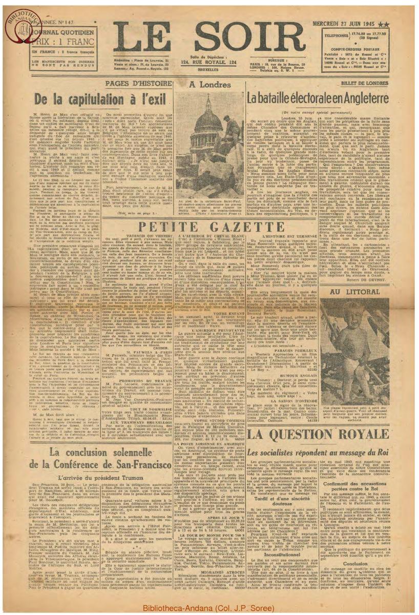 1945-06-27 Le Soir
