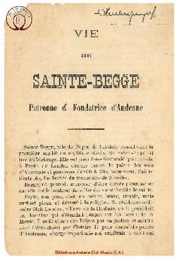 Vie de Sainte Begge Patronne et Fondatrice d'Andenne.