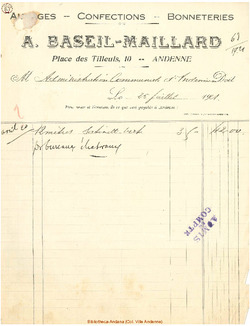 Facture Baseil Maillard 1920