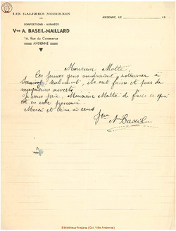 Facture Baseil Maillard 1940