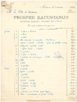 Facture Bacus Dorjo 1914
