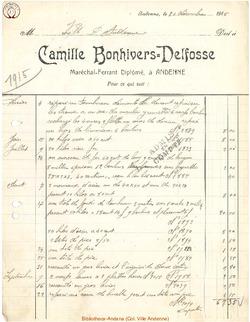 Facture Bonhivers Delfosse 1915