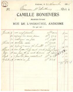 Facture Bonhivers Delfosse 1916