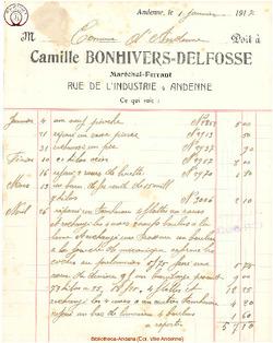 Facture Bonhivers Delfosse 1917
