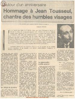 Hommage à Jean Tousseul, chantre des humbles visages