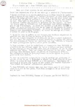 9 février 1944 - 9 février 1974 ... Il y a trente ans, Jean Tousseul nous quittait ...