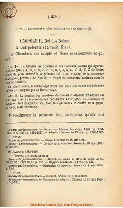 Loi portant érection de la commune de Coutisse - 24 mai 1886