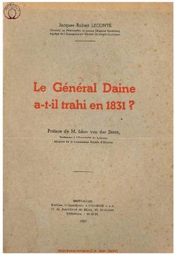 Le Général Daine a-t-il trahi en 1831 ?