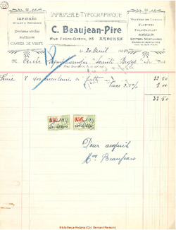 Facture Beaujean Pire 1935