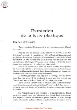 Extraction de la terre plastique