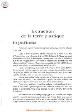 Extraction de la terre plastique