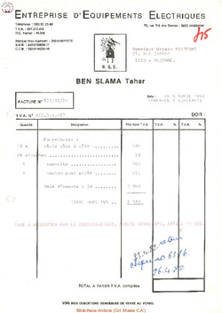 Facture Ben Slama 1982