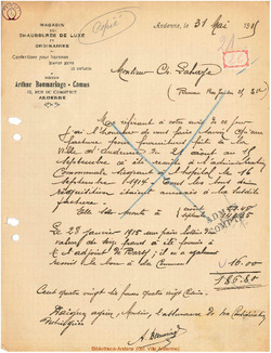 Facture Bonmariage Camus 1915