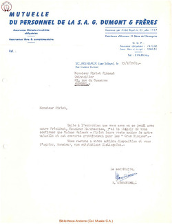Mutuelle du personnel de la S.A. G. Dumont & Frères 1967