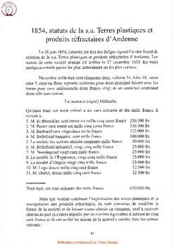 La S. A. Terres Plastiques et Produits réfractaires d'Andenne.