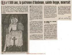 Il ya 1300 ans, la patronne d'Andenne, sainte Begge, mourrait