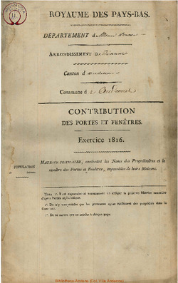 Contribution des portes et fenêtres 1816