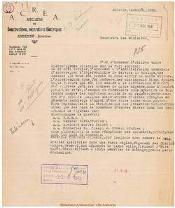 Facture ACREA 1945