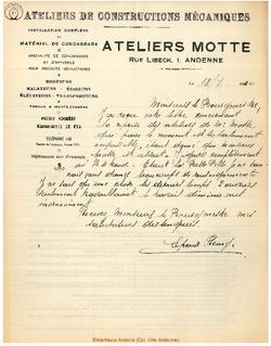 Facture Ateliers Motte 1940