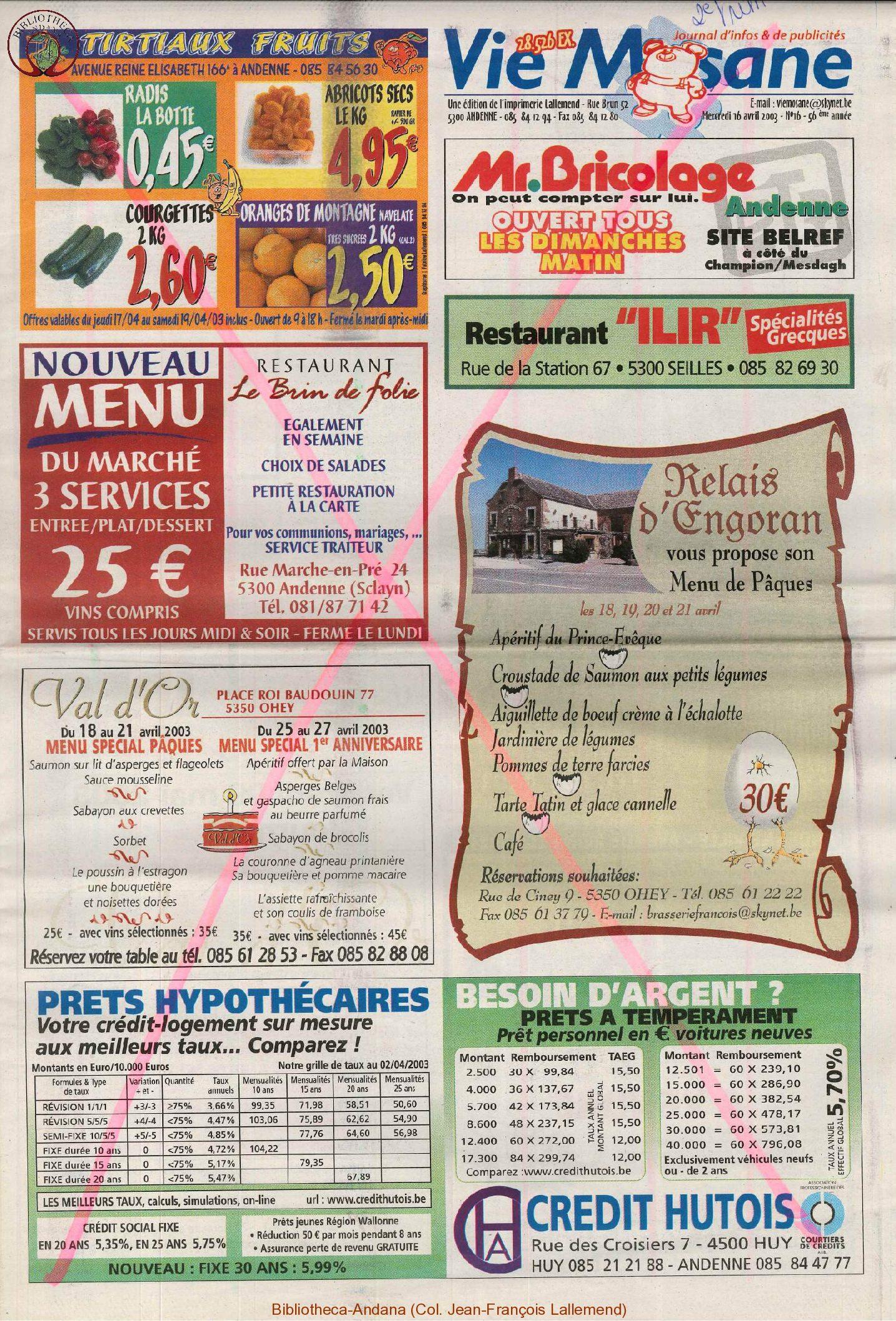 57e année - n°16 - 16 avril 2003