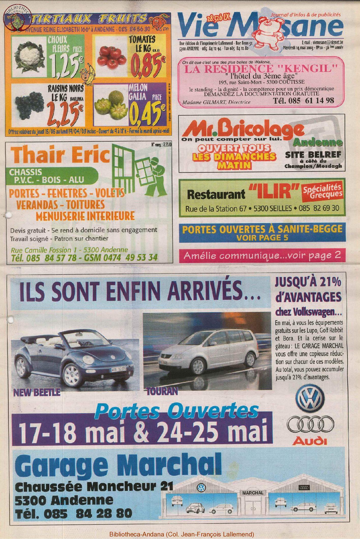57e année - n°20 - 14 mai 2003