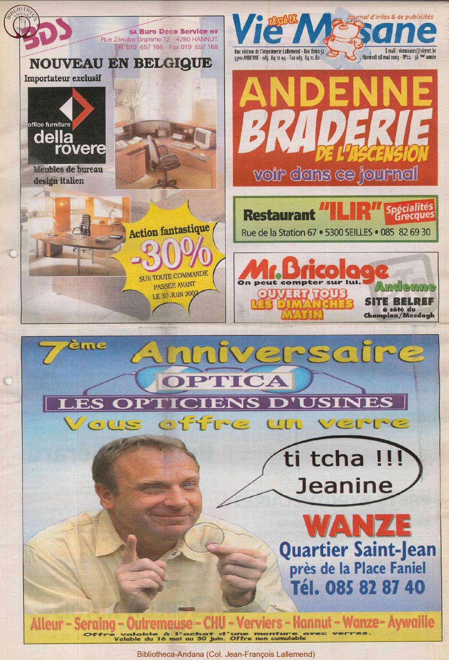 57e année - n°22 - 28 mai 2003