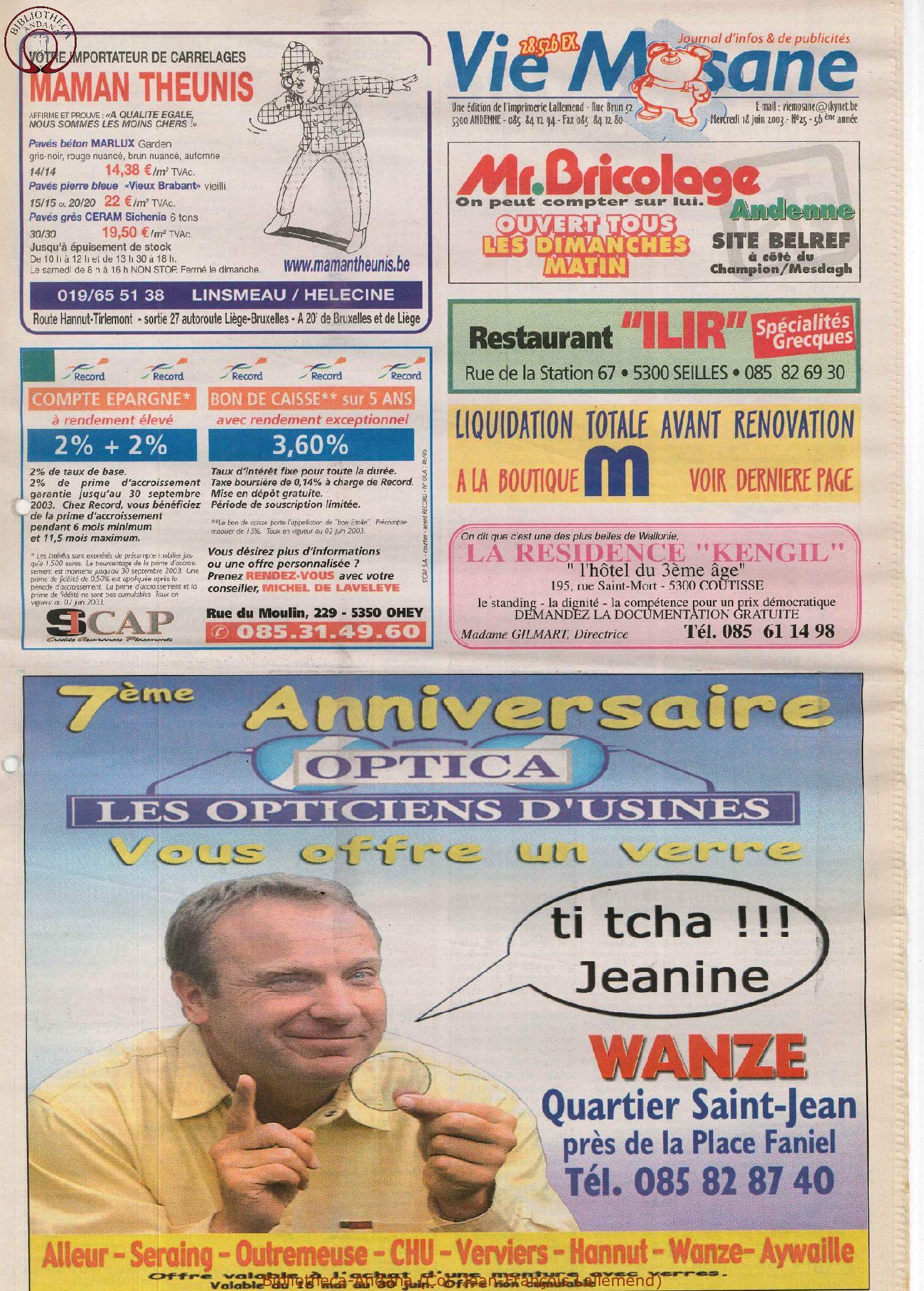 57e année - n°25 - 18 juin 2003