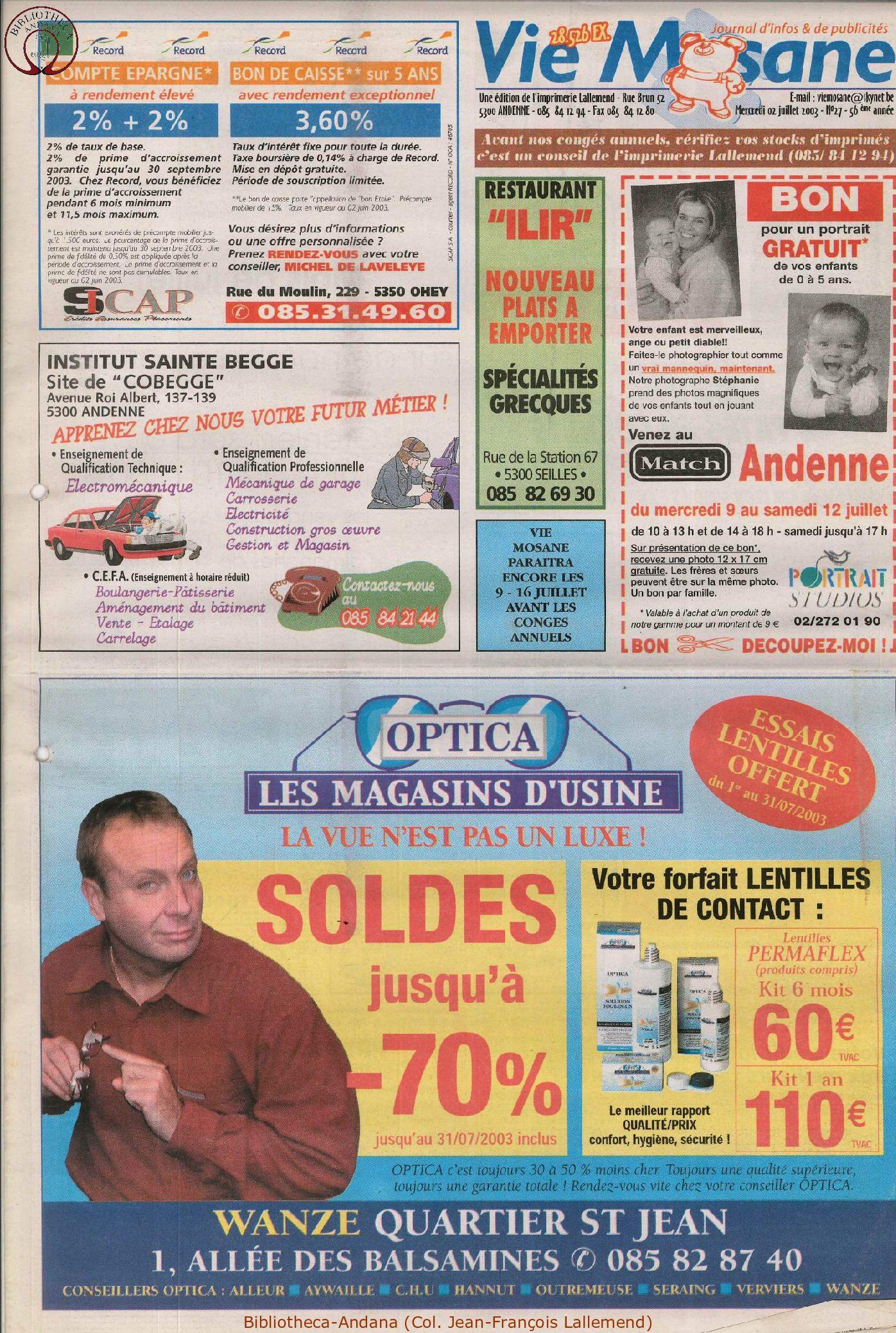 57e année - n°27 - 2 juillet 2003
