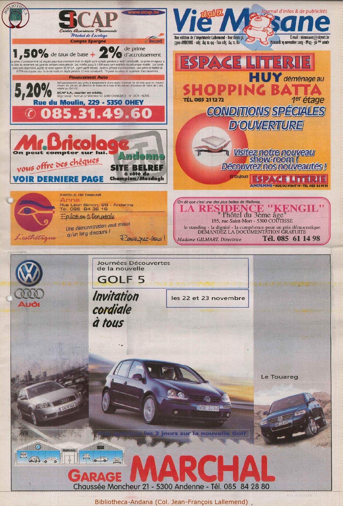 57e année - n°43 - 19 novembre 2003