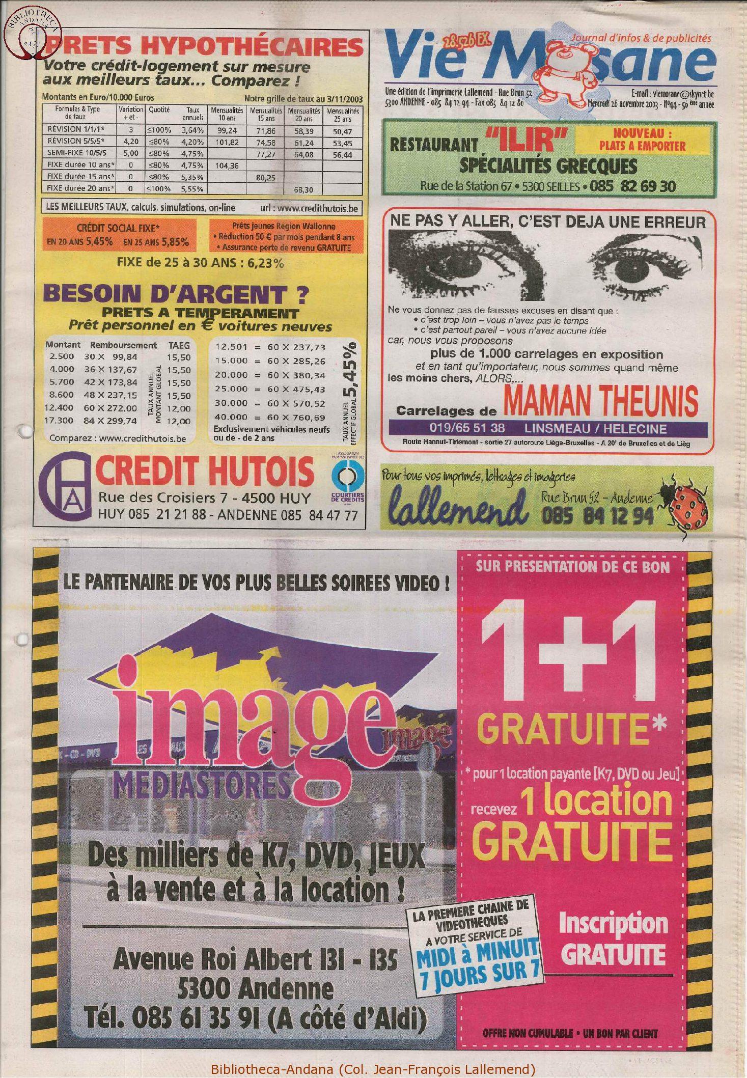 57e année - n°44 - 26 novembre 2003