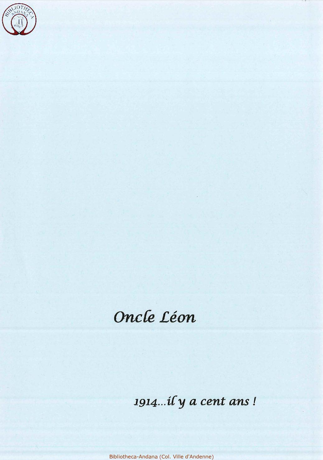 Oncle Leon 1914 ... il y a cent ans.