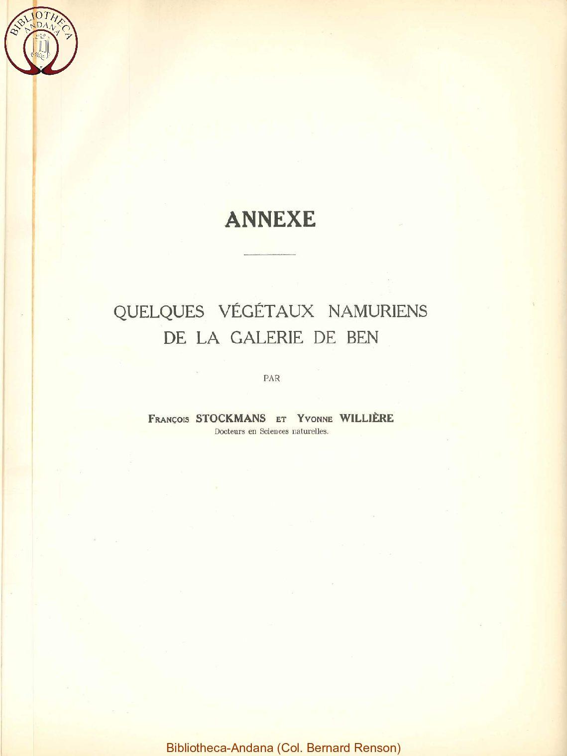 Le namurien dans le bassin d'Andenne (annexes)