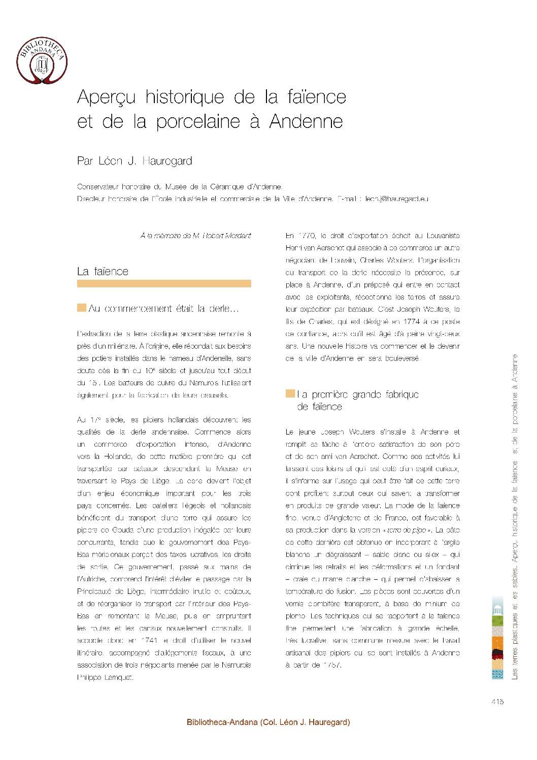Aperçu historique de la faïence et de la porcelaine à Andenne