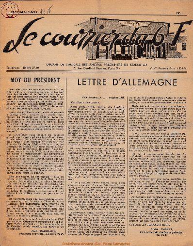 Le courrier du 6 F N°1 - décembre-janvier 1945