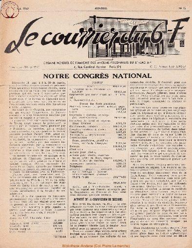 Le courrier du 6 F N°12 - mai 1947