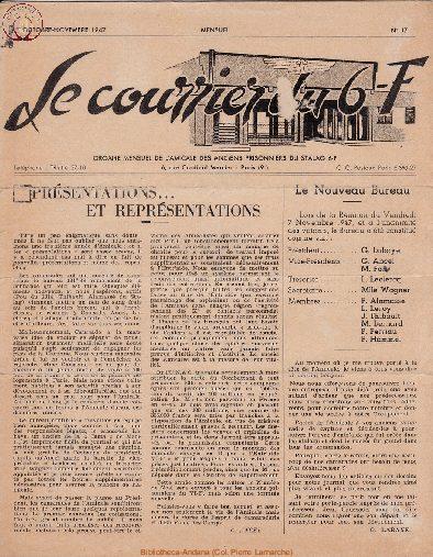 Le courrier du 6 F N°17 - octobre-novembre 1947