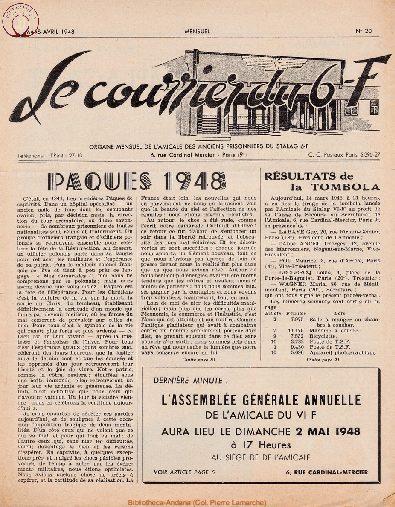 Le courrier du 6 F N°20 - mars-avril 1948