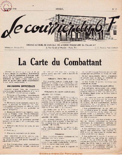 Le courrier du 6 F N°21 - mai-juin 1948