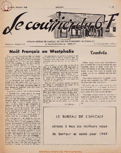 Le courrier du 6 F N°25 - janvier-février 1949