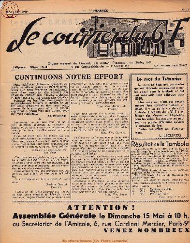 Le courrier du 6 F N°27 - mai-juin 1949