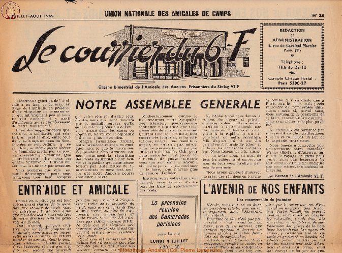 Le courrier du 6 F N°28 - juillet-août 1949