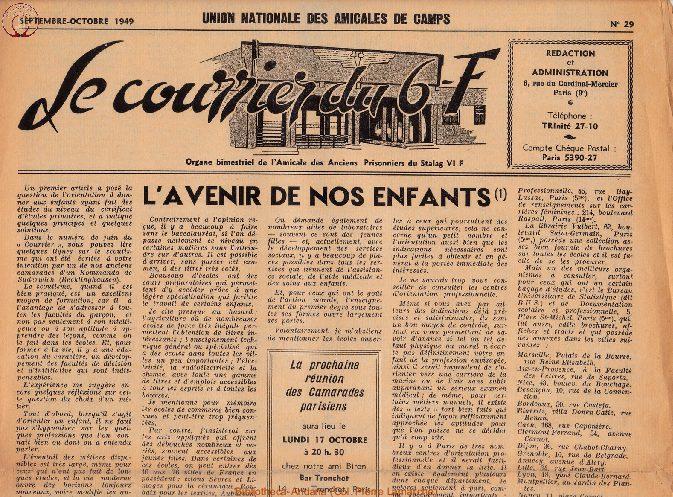 Le courrier du 6 F N°29 - septembre-octobre 1949