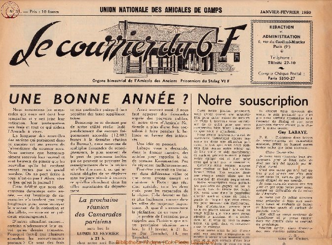 Le courrier du 6 F N°31 - janvier-février 1950
