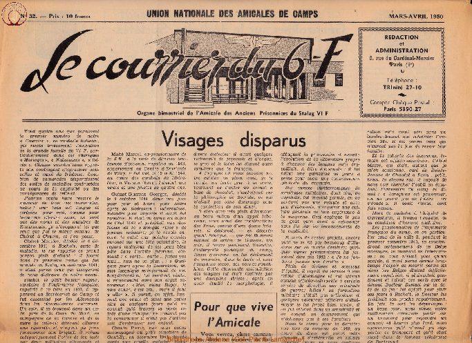 Le courrier du 6 F N°32 - mars-avril 1950