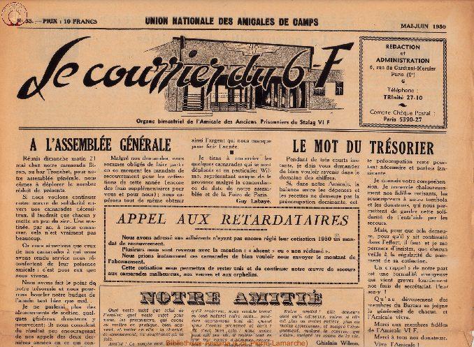 Le courrier du 6 F N°33 - mai-juin 1950