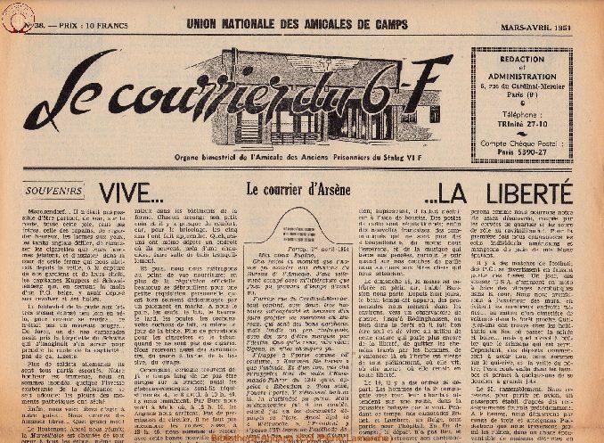 Le courrier du 6 F N°38 - mars-avril 1951