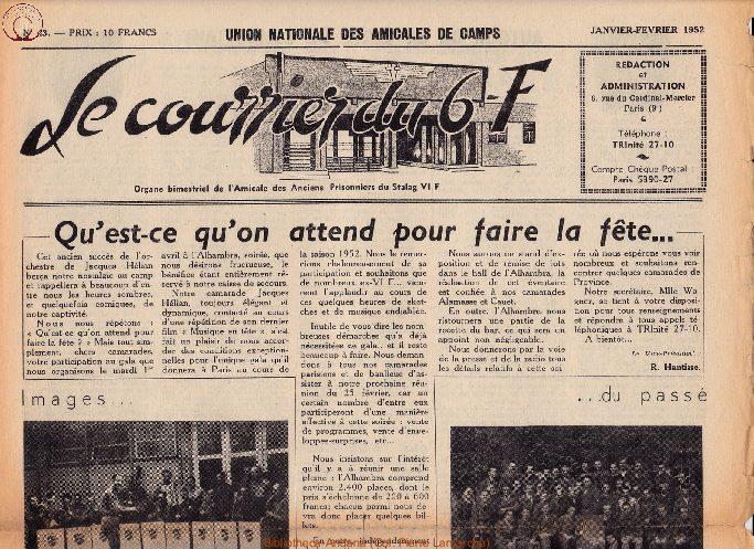 Le courrier du 6 F N°43 - janvier-février 1952