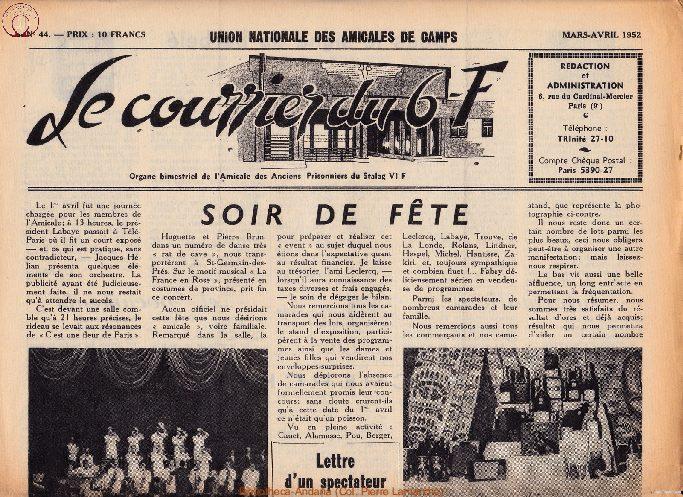 Le courrier du 6 F N°44 - mars-avril 1952