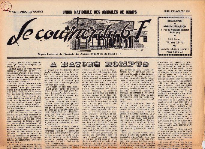Le courrier du 6 F N°46 - juillet-août 1952